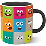Chiraiyaa Creative Smiley - Emoji - Inner Black Printed With Black Printed Handle Ceramic Mug