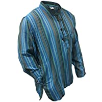 Multi Color Mix dharke Stripes Light Weight Comfy Long Sleeves Traditional Grandad Shirt,Hippy Boho 6