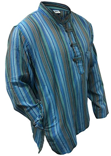 Multi farben mix dharke Streifen leicht bequem langärmlig traditionell Großvater Shirt,hippy boho,s m l xl xxl xxxl Mehrfarbig - turquoise mix