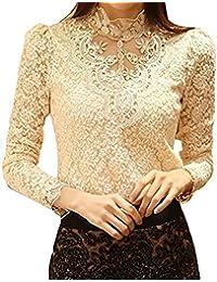 Dayiss®Chic OL Damenbluse Spitzenbluse Lace Hemdbluse Langarmshirts Perlen Stehkragen Tops in 2 Farben (XL, Beige)