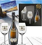 Sansibar Prosecco Geschenk-Set inkl. 2 Champagnergläserm aus Kristallglas mit Echt-Gold-Emblem |Luxus für Mann & Frau|Sylt Special in schwarz gold| Vintage mit Gold-Gläsern