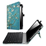 Fintie ASUS ZenPad 3S 10 Z500M Bluetooth Tastatur Hülle Keyboard Case - Ultradünn leicht SlimShell Ständer Schutzhülle mit magnetisch abnehmbar drahtloser Bluetooth Tastatur für Asus ZenPad 3S 10 Z500M 9,7 Zoll (2016 Modell) Tablet-PC, Mandelblüten