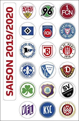 DFL Deutsche Fussball Liga 2. Bundesliga Magnettabelle - Vereinswappen (Saison 2019-2020)
