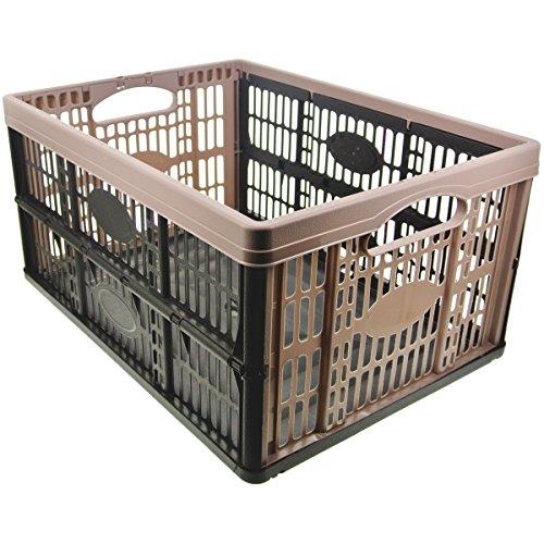 Promobo - Panier Cageot Pliable Idéal Coffre De Voiture Et Rangement Fruits Et Légumes Taupe 32L