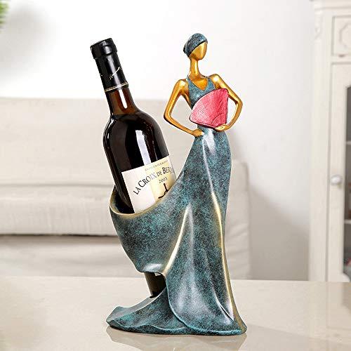 YZT QUEEN Wein weinregal, kreative Harz flaschenhalter Carving Handwerk Dekoration Dekoration (schönheit hält einen Fan),Blue,35 * 17 * 14.5cm -