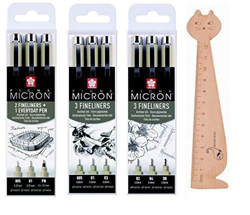Blumie Shop - Set di 9 piccioni Micron neri + 1 righello segnalibro in legno
