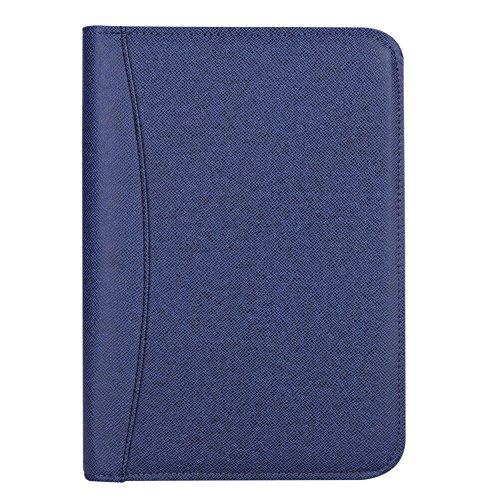 Ringbuch Notizbuch A5 mit Taschenrechner Vintage Spiralbuch mit 200 Seiten Schreibmappe mit Reißverschluss Notizblock Schreibblock Aktenmappe für Business Notiz Konferenz Büro Blau