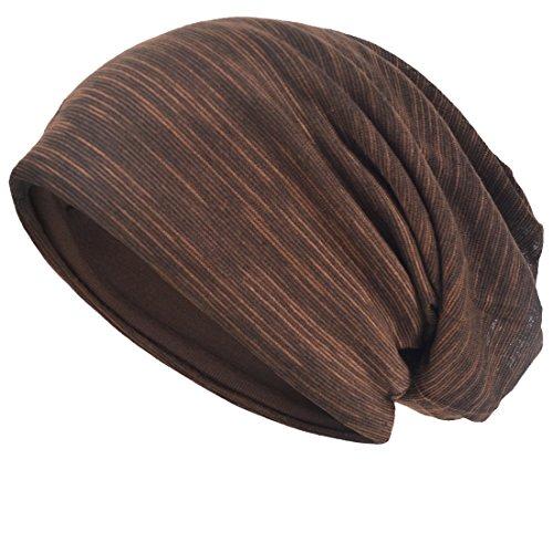 Herren Slouch Hollow Mütze Thin Sommer Cap Strickmützen Beanie Skullcap (Braun)