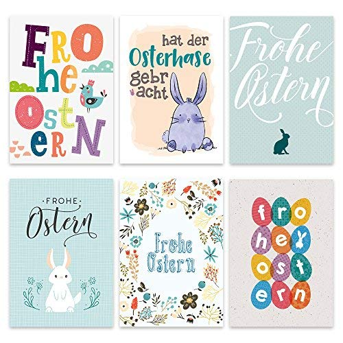 Osterkarten Set bunt - 12 liebevoll gestaltete Postkarten zu Ostern - Grußkarten Set - Ostern Grußkarten