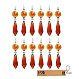 H&D 38mmKristall Kronleuchter Eiszapfen Prismen Anhänger/Behang/Pendel Kerzenhalter-teilig, Braun(silberne Schnalle), 10Stück