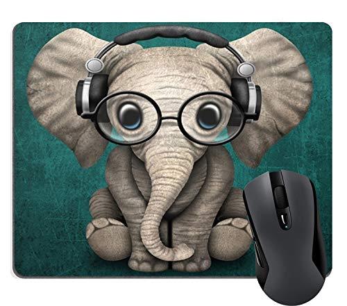 Muccum Vintage Cute Elephant Baby mit Brille Rechteck Mauspad