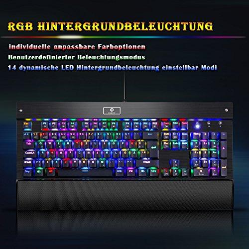 KingTop Mechanisches Gaming Keyboard QWERTZ Tastatur RGB LED Windows MAC Linux Schwarz - 3