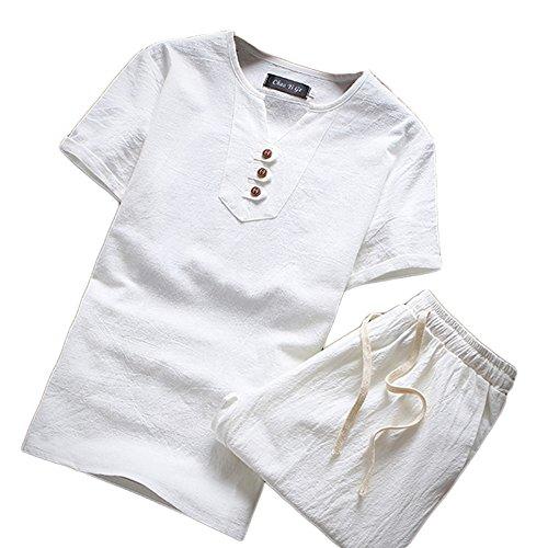 Herren Sommer Leinen V Kragen Kurzarm-T-Shirt Und Shorts Drei Schnallen Chinesische Art Einfarbig Sets Weiß 2XL