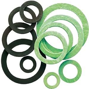Joint fibre Neptune - Dimensions Assortiment de filetage par 100 - En mm : 12 x 17 - 15 x 21 - 18 x 24 - 23 x 30 - 30 x 38,5 - 34 x 44 - Pochette de 100