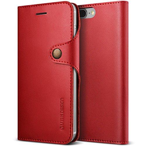 Coque iPhone 7 Plus (2016) / 8 Plus (2017), VRS Design [Native Diary][Rouge] - [Housse portefeuille à rabat en cuir Véritable] Pour Apple iPhone 7 Plus / 8 Plus
