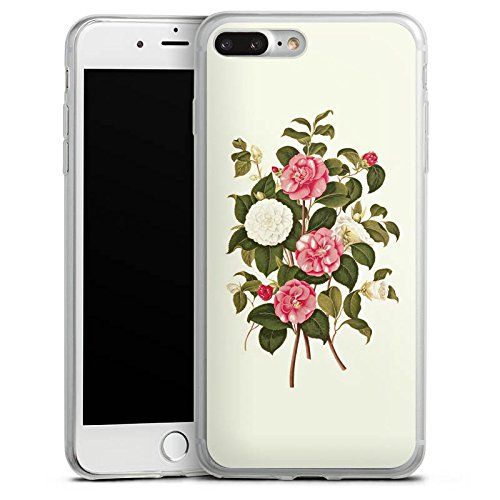 Apple iPhone 8 Plus Slim Case Silikon Hülle Schutzhülle Blumen Pink Camellia Silikon Slim Case transparent