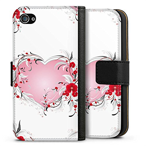 Apple iPhone X Silikon Hülle Case Schutzhülle Liebe Herz Heart Muster Sideflip Tasche schwarz