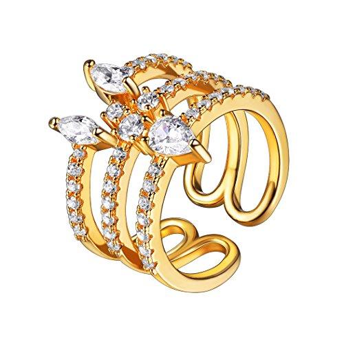 18k vergoldet dreischichtig offener Ring Verlobungsring verstellbar Mädchen Frauen Modeschmuck Geschenk für Valentinstag Muttertag(Gold) ()