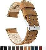 BARTON WATCH BANDS Schnellverschluß. - Top Marke Leder Uhrenarmbänder - Wahl der Farbe und Breite (18mm, 20mm or 22mm) Braun Leder/weiße Wäsche 22mm Uhrenarmbänd