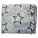 Graue Kuscheldecke mit schwarzen Sternen 100% Polyester, 240 g/m², ca. 130 x 160 cm