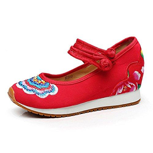 Frauen bestickte Schuhe fallen Sport beiläufige nationale Art dünne Schuhe ( Farbe : Rot , größe : US:5\UK:4\EUR:35 )