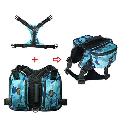 Ondoing Hund Rucksack Einstellbar Satteltasche Hundegeschirr mit Leine für Wandern Camping Reise L Camo Blau