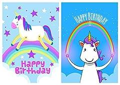 Idea Regalo - Biglietti di auguri con unicorno, con buste - Realizzate in Regno Unito da Greetingles - 10 pezzi