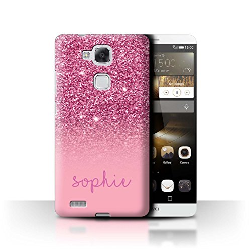 Stuff4® Personalisiert Individuell Glitter Effekt Hülle für Huawei Ascend Mate7 / Rosa Design/Initiale/Name/Text Schutzhülle/Case/Etui