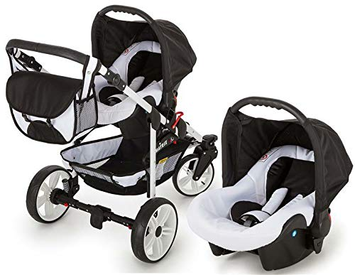 SaintBaby Stroller Pram Pushchair 2in1 3in1 Set All in one Baby seat Buggy X-Move GO White & Pink 3in1 with Baby seat SaintBaby 3in1 or 2in1 Selectable. At 3in1 you will also receive the car seat (baby seat). Of course you get the baby tub (classic pram) as well as the buggy attachment (sports seat) no matter if 2in1 or 3in1. The car naturally complies with the EU safety standard EN1888. During production and before shipment, each wagon is carefully inspected so that you can be sure you have one of the best wagons. Saintbaby stands for all-in-one carefree packages, so you will also receive a diaper bag in the same colour as the car as well as rain and insect protection free of charge. With all the colours of this pram you will find the pram of your dreams. 3