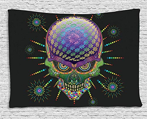 Psychedelic Tapestry, Digital Mexican Sugar Skull Festive Ceremony Halloween with Ornate Effects Design, Wall Hanging for Bedroom Living Room Dorm, 80 W X 60 L Inches, Multi (Lips Black Halloween-make-up)