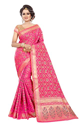 Ecolors Fab Tassar Silk Saree (_Pink_Free Size)