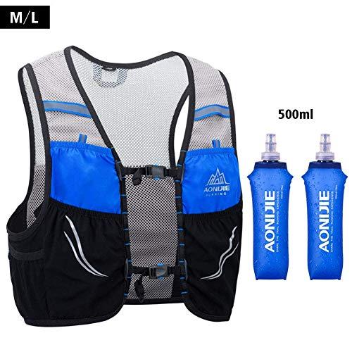 UTOBEST Ultra Running Chaleco de Piel Avanzada 2.5 Set Ligero hidratación Pack para Trail Running, 2.5 L, Unisex, Color Blue-500ML, tamaño M/L