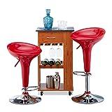 Relaxdays Barhocker 2er Set, höhenverstellbar, drehbar, bis 120 kg, mit Lehne, Barstuhl, HxBxT: 88 x 44 x 40 cm, rot