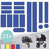 Tampen 21x Reflektor Aufkleber (Set) · hohe Sichtbarkeit im Herbst und Winter · Reflektoren für Kinderwagen, Fahrrad, Helm uvm. · wasserfeste Leuchtaufkleber · Blau