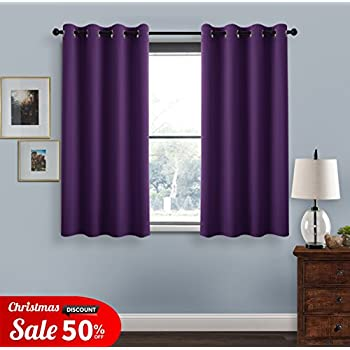 eyelets blackout curtains window treatment pony dance 52 in wide by 54 inches drop purple 2 panels thermal insulated super soft solid blackout