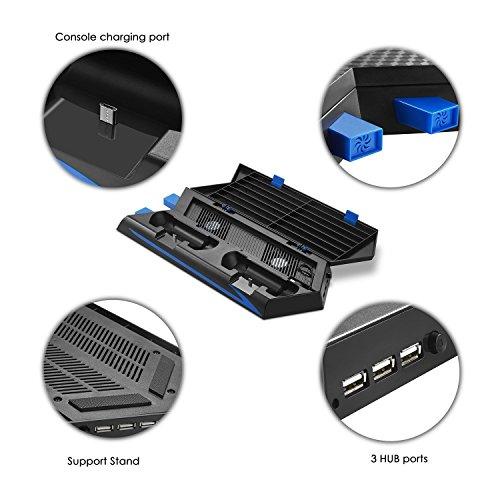 Younik Soporte Vertical para PS4 / PS4 Slim con ventiladores  estación de carga para dos controles  estante de almacenamiento para 14 juegos y un centro de conexión de 3 puestos USB. Esta base cumplirá con todas las necesidades de PS4 / PS4 Slim! No compatible con el PS4 Pro