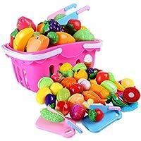 Forweilai 37 Piezas frutas y verduras juguete para cortar - Alimentos de juguete - Juguetes de