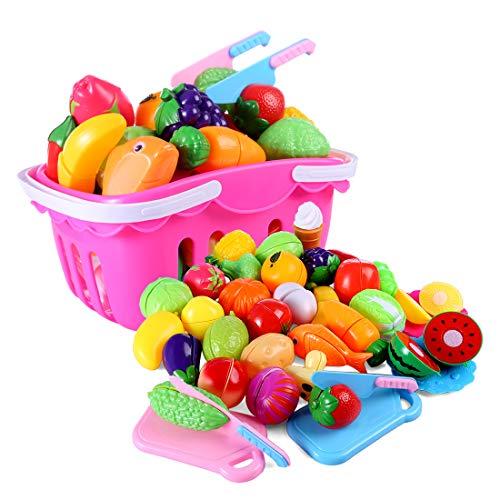 MAJOZ 37 Piezas Corte de Frutas y Verduras Falsos, Alimentos...
