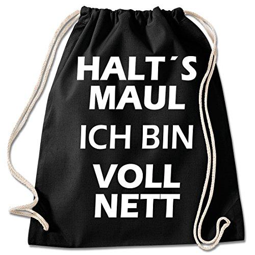 Shirt & Stuff / Turnbeutel mit Spruch/Bedruckte Sportbeutel - Sprüche auswählbar/Baumwolle schwarz/Bin voll nett - Sport-geschenke Teenager Für