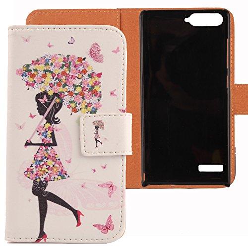 Lankashi PU Flip Leder Tasche Hülle Case Cover Schutz Handy Etui Skin Für Huawei Ascend P7 Mini Umbrella Girl Design