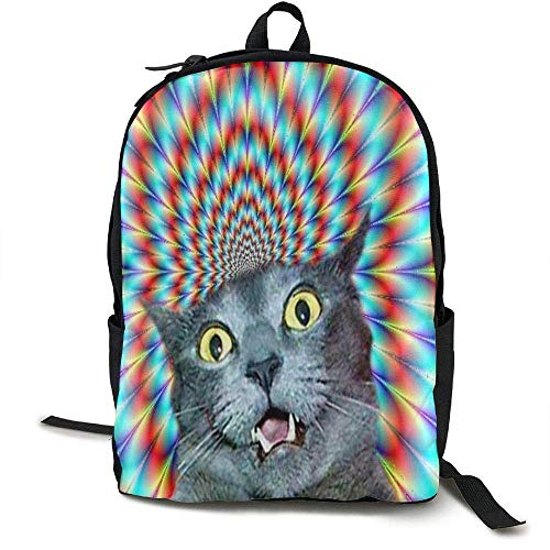 HOJJP Mochila escolar Crazy Cat Hallucination School Bookbags Teens, Backpack College Bags young people Daypack (Camaras De Bolsillos)