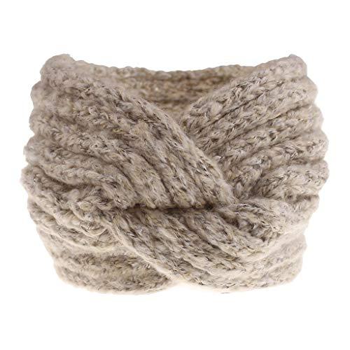 Grey Kostüm Zubehör Jean - WERVOT Haarband Stirnbänder Winter Cross Braided Stirnband Ear Warmer Head Wraps(Beige,Free size)