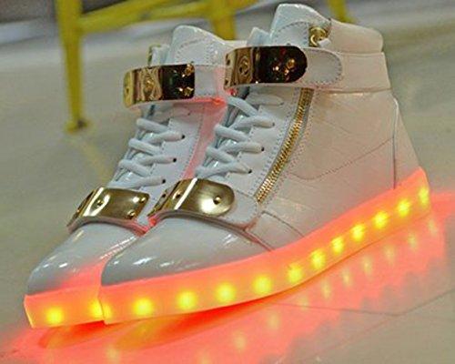 [Present:kleines Handtuch]JUNGLEST® 7 Farbe Wechseln USB aufladen LED-Licht Leuchtend Mode Sportschuhe Freizeitschuhe Outdoorschuhe Laufschuhe Schuhe Sneaker fü Weiß