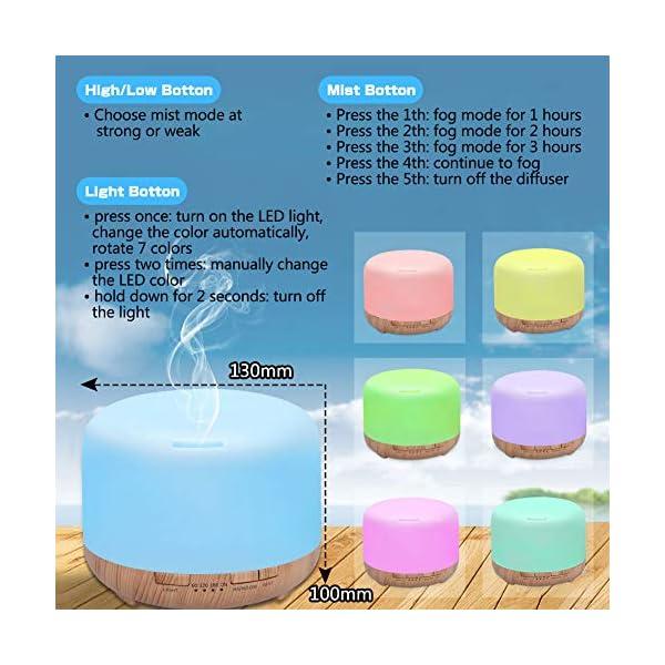 SUPTEMPO-Diffusore-di-Oli-Essenziali-450ml-Diffusore-di-Aromi-Umidificatore-Diffusore-Ambiente-con-Luce-Notturna-a-7-Colori-LED-Timer-Controllo-della-Nebbia-Senzacqua-Spegnimento-Automatico