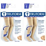 Truform Compression 20-30 Mmhg Thigh High Dot Top Stockings Beige, Medium, 2 Count