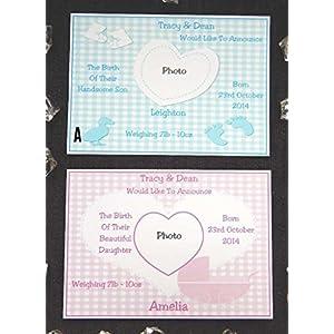 25, 32, 40 oder 50 x Personalisierte Geburt von Baby- oder Baby-Mitteilungs-Karten (Entwurf A & B) mit Fotografie u. Freien Umschlägen