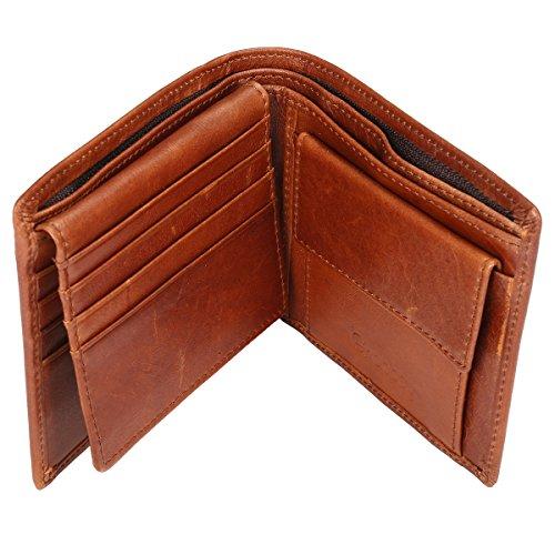 Gracosy Vintage Herren Geldbörse Portemonnaie Große Münztasche aus echt Leder Geldbeutel in Geschenkbox Ledergeldbörse Brieftasche für Männer Portmonee Wallet im Querformat Kaffee