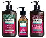Arganicare Set de 3 Produits A la Kératine pour les cheveux abîmés, thermiquement ou chimiquement traités. Revitalise les cheveux en les gardant lisses et soignés. Shampoing + Apres Shampoing + Sérum