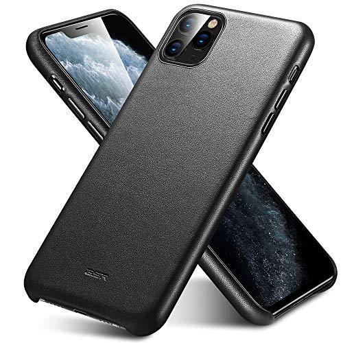 ESR Premium Echtleder Hülle kompatibel mit iPhone 11 Pro(2019) Dünnes leichtes kratzfestes Vollleder Case [unterstützt kabelloses Laden] Schutzhülle für iPhone 11 Pro mit Mikrofaserinnenfutter-Schwarz