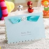 VStoy Taufe Tagen Feiern Einladung Karten Lovely Pink Party Einladungen für die Girl Baby Dusche mit niedlichem Baby Car frei Pink Umschlag und Dichtungen 20Stück blau